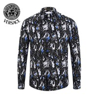 VERSACE Fashionable Men Women Casual Print Long Sleeve Lapel Shirt Top