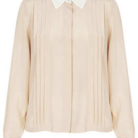 Long Sleeve Silk Pleat Shirt