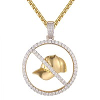 Gold Tone No Cap Icy Bling Sport Hip Hop Pendant Box Chain