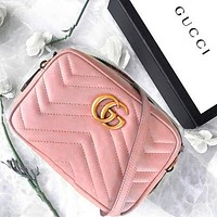 GUCCI Classic Wave pattern Shopping Leather Shoulder Bag Crossbody Satchel Small Square Bag Pink