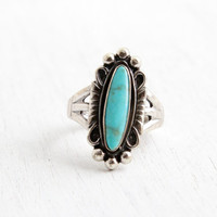 Vintage Sterling Silver Turquoise Ring- Size 7 Retro Hallmarked Bell Trading Co Southwestern Native American Style Jewelry