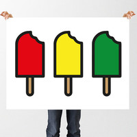 Ice Lollies Print, Popsicle, Ice Pop, Printable Wall Art, Instant Download Vector Lolly Art, Traffic Light Freezer Pops, Home Decor, Pop Art