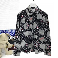 LV new autumn and winter long-sleeved button lapel shirt