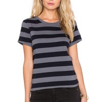 SUNDRY Rugby Stripe Boy Tee in Charcoal