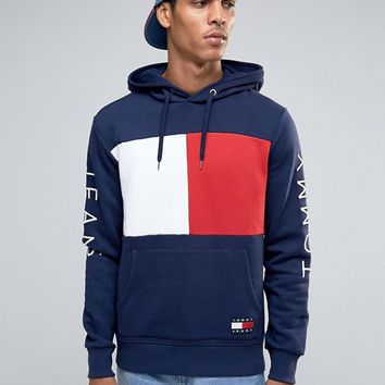 Tommy Jeans 90s Flag Logo Hoodie in Navy at asos.com