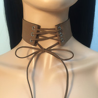 Tie Up Lace Up Suede Choker - Brown