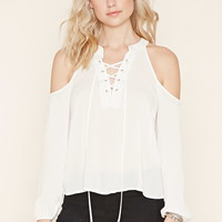 Lace-Up Open-Shoulder Blouse