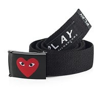 Play Fashion New Love Heart Eye Print Buckle Women Men Letter Print Canvas Belt Black