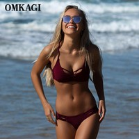 OMKAGI Swimwear Swimsuit Women Bikini 2017 Push Up Bandage Bikini Set Bathing Suit Biquini Beach Maillot De Bain Femme Swim Wear