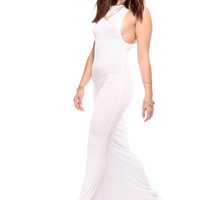 Simplistic Gal White Mermaid Maxi Dress