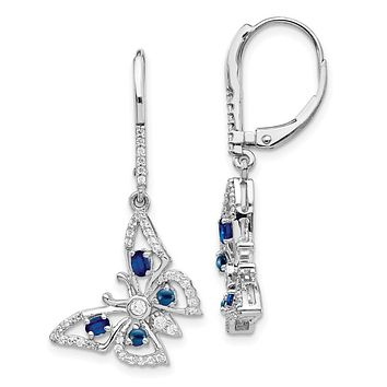 14k White Gold Real Diamond/Sapphire Butterfly Leverback Earrings