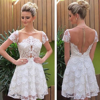 White Short Sleeve Homecoming Dress,  Lace Open Back Short Homecoming Dress