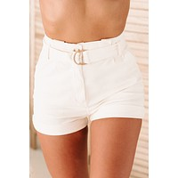 Future Leader High Waisted Belted Paperbag Shorts (Ivory)