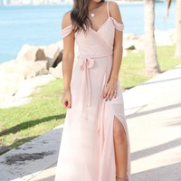 Blush Off Shoulder Maxi Dress with Side Slit