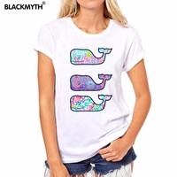 Casual Fashion Style Beautiful Whale Pattern Printing White Round neck Women T shirt  Summer New Short sleeve Cozy Tops