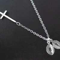 Personalized, Two, Initials, Sideways, Cross, Silver, Necklace