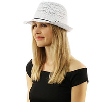 Summer Lightweight Lace Cotton Knit Vented Crushable Fedora Derby Sun Hat White
