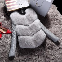 Fall and winter simulation leather fur short women fox fur sheep fur plus cotton jacket