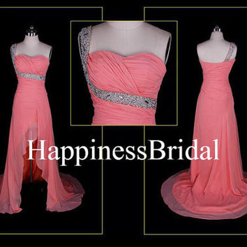 A-line Short front long back One-shoulder Chiffon Long Bridesmaid Dress Prom Dress Evening Dress Party Dress 2013 New Style With Beading