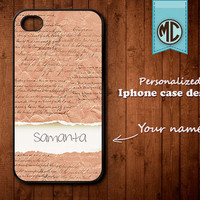 Personalized iPhone Case - Plastic or Silicone Rubber Monogram iPhone 4 4S Case Cover - K014