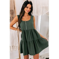 Country Cutie Button Top Dress (Sea Green)