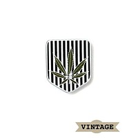Marijuana Leaf Shield Vintage Pin