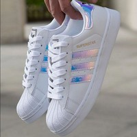 Adidas Fashion Reflective Shell-toe Flats Sneakers Sport Shoes Laser PINK