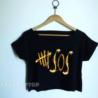 5sos 5 seconds of summer crop top crop tee croped top croped tee 5sos shirt 5 seconds of summer logo jersey shirt with gold fireworks
