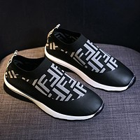 FENDI low cut breathable stretch socks shoes men and women retro leisure sports one-step lazy shoes sneakers