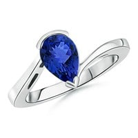 Solitaire Pear Tanzanite Bypass Ring