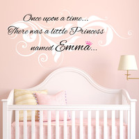 Once Upon A Time... Personalized Custom Quote Vine Swirl Design Vinyl Wall Decal Sticker