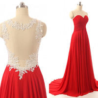 Pleated Sweetheart Top Beaded Lace Red Prom Dress Small Train Evening Dress Elegant Long Chiffon Wedding Party Dress Bridesmaid Dress