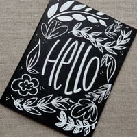 Black and white hand lettered 'Hello' greeting card, hand drawn chalkboard style card, blank greeting card.