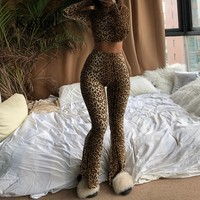 KGFIGU 2019 New Sexy leopard print two piece set suit Women Sexy Round neck long sleeve Tops High Waist flare Pants Matching Set