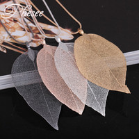 Phesee 4 Color Natural Leaf Necklaces & Pendants Leaves Long Statement Necklace Jewelry Gift For Women Hot Sale