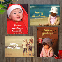 Personalized / Customized / Printable / Digital File 4 Holiday Photo Cards Templates - brush script & foil