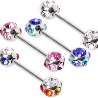 316L Surgical Steel Nipple Bar with Multi-Glass/Gemmed Balls