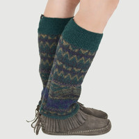 Grunge Leg Warmers in Green and Purple Aztec Pattern - Upcycled Wool Sweaters - OOAK