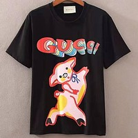 GUCCI 2019 new letter printing men and women models half sleeve loose T-shirt Black