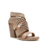 Woven Leather Stacked Bootie (BARNES-78A Taupe)