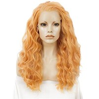 Long Strelitzia Orange Curly Synthetic Lace Front Wig