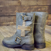 Charlestown Cross Mid Calf Boots Olive