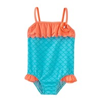 Baby Buns Fish Scale One-Piece Swimsuit - Toddler Girl, Size: