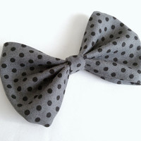 Grey and Black Polkadot Small Hair Bow