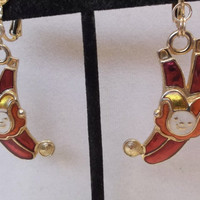 Vintage Berebi Circus Performer Clown Court Jester Enamel on Goldtone Dangle Clip on Earrings