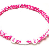 Triple Titanium Necklace (Breast Cancer Awareness) - $10.00 : Titanium Necklace Shop - Titanium Sports Baseball Necklaces
