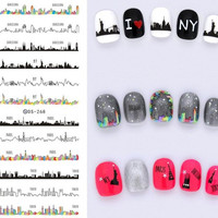 DS268 Design Water Transfer Nails Art Sticker Harajuku Tokyo Hot Wave Nail Wraps Sticker Watermark Fingernails Decals