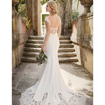 Romantic Lace Vintage Wedding Dress 2016 Sexy Mermaid Backless Wedding Dresses Brazil China Wedding Gowns Bride Dresses