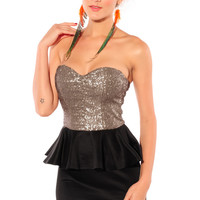 Strapless Black Peplum Dress with Backless Sequined Top
