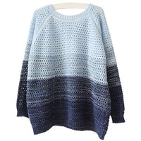 MapleClan Color Gradual Change Round Neck Pullover Hollow Sweater Large Size